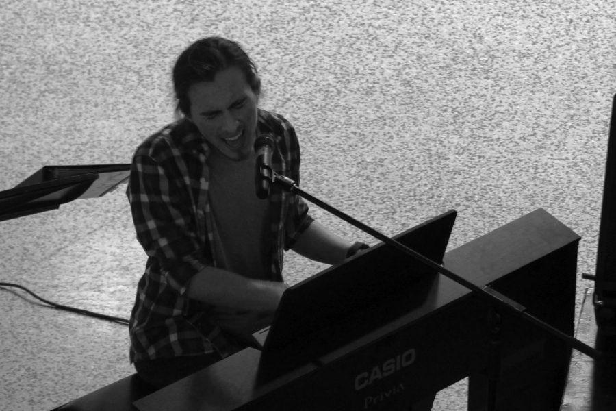 Senior Bret Ramirez played with multiple acts throughout Java & Jams.
