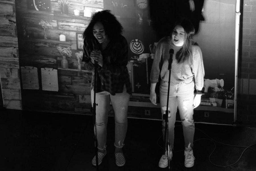 Juniors Micah Talley and Halee Owen sing a duet.
