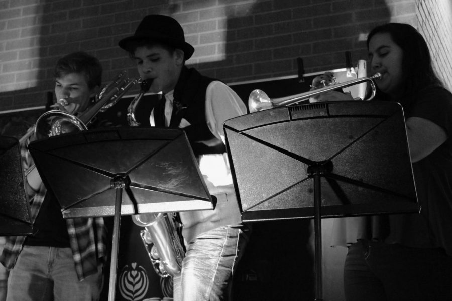 Senior Keaton Goss (left), freshman Diego Reyes (middle) and sophomore Jacie Guerrero (right) play in their band, The Old Republic.