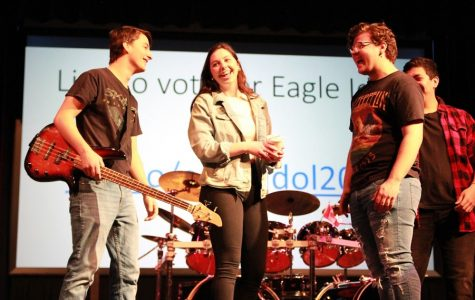 Sophomore Kelton Harbison, senior Haley Williams and junior Brennen Copeland celebrate winning the Eagle Idol competition.