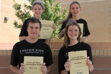 Seniors Blake Loria and Kodi Hicks (front) and juniors Abigail Bell and Hannah Backus (back) were named to the 2020 All-State Journalism Staff along with graduates Luke Bruce, Claire Meyer and Macy McClish (not pictured). Student journalists across Texas can earn the title by accumulating 50 points from competing in UIL and winning awards for stories.