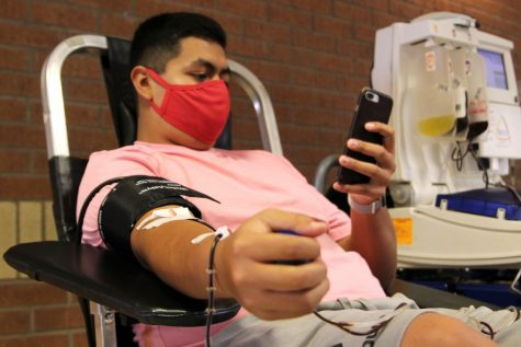 "Senior Josh Moreno donated at the Back-to-School Blood Drive in August, his fourth time donating blood. ""I always knew it was a good cause; it was a good thing to do,"" Moreno said. ""Donating blood can help save someone"