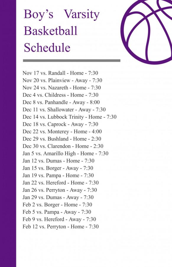 Boys varstity schedule