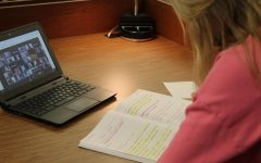 Teen Leadership member Neely Wood writes a goal for the month of December to be a better role model during a meeting. Wood, a senior, is one of four Canyon High students who meet monthly with members form other schools through Zoom. Wood said the program, which is offered across the Texas Panhandle, teaches students leadership skills and allows them to take part in and change their community.