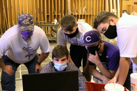 Alongside Canyon High Robotics Club sponsor Bill Troyer, team members sophomores Cannon Rosser, Rhett Patterson, Tyler Troyer and Brandon White attend a virtual meeting over Zoom with UIL Robotics State judges. After weeks of waiting for results from UIL, the rankings were announced, with the team placing 14th of 24.