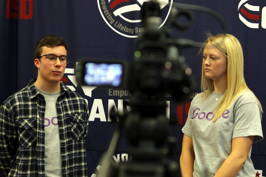 "Seniors Blake Loria and Neely Wood film a discussion about the iConnect program while at the Canyon ISD District Support Center Friday, Jan. 15. The video will be published on Google's YouTube channel featuring the district's partnership with the tech company. ""We talked about what we do in iConnect and how that can help us in the future,"" Wood said. ""Some days, you could be troubleshooting; maybe you could be researching how to fix the problem. Other days consist of fixing screens and replacing batteries."" Wood said Google offers iConnect students unique ways to develop and learn. ""When a teacher needs help with how to operate the Google system, we were able to help them. I have also learned how to better operate Google software like Google Classroom, Google Docs, Google Sheets. So, the video was really like a day in the life at iConnect."""