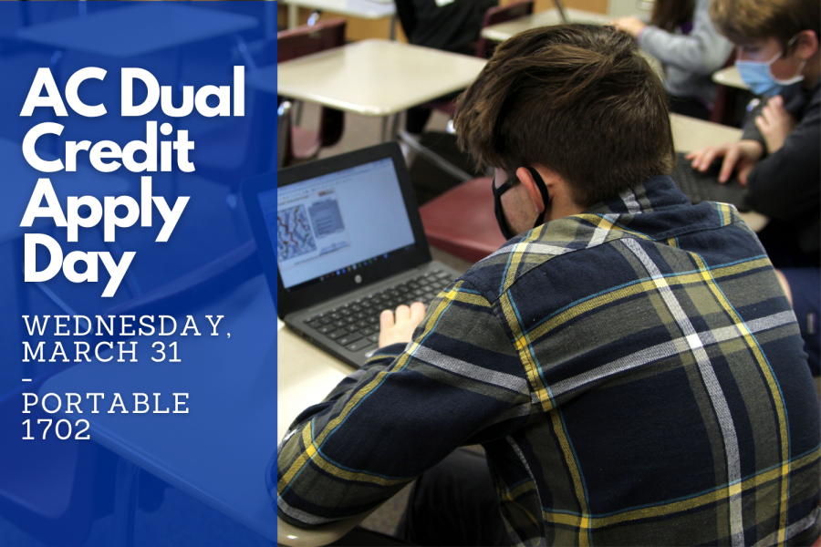 Dual Credit Apply Day will be held Wednesday, March 31 for students signed up for a 2021 fall semester dual credit class for the first time.  For students absent Wednesday, a make up session will be held Thursday, April 15.