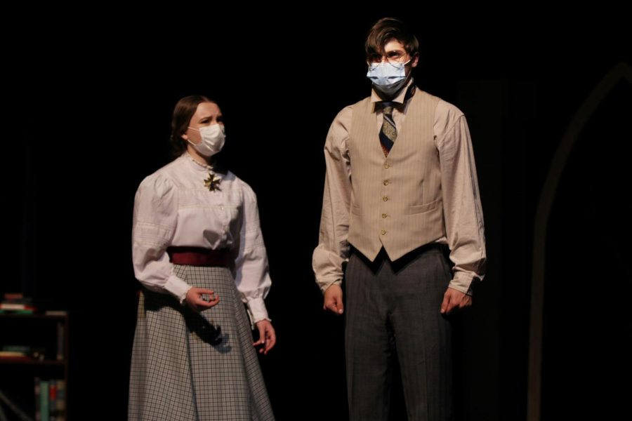 """Tess, played by senior Macie Lipkke, is trying to comfort Will after turning him down after he confronts her on how he feels. Senior Jayden Jolly plays supporting character Will Bennett. Jolly said he joined One-Act because he wanted to help influence the program in a positive way, like the seniors that came before him. """"I love this scene because of the complexity and challenge that it brings to the table,"""" Jolly said. """"This part in the play requires a lot of moving pieces to convey the emotion. It is definitely a challenge to find different ways to express the emotions you are trying to convey on stage, but I think it has overall increased variety in our tactics and methods as a cast."""""""
