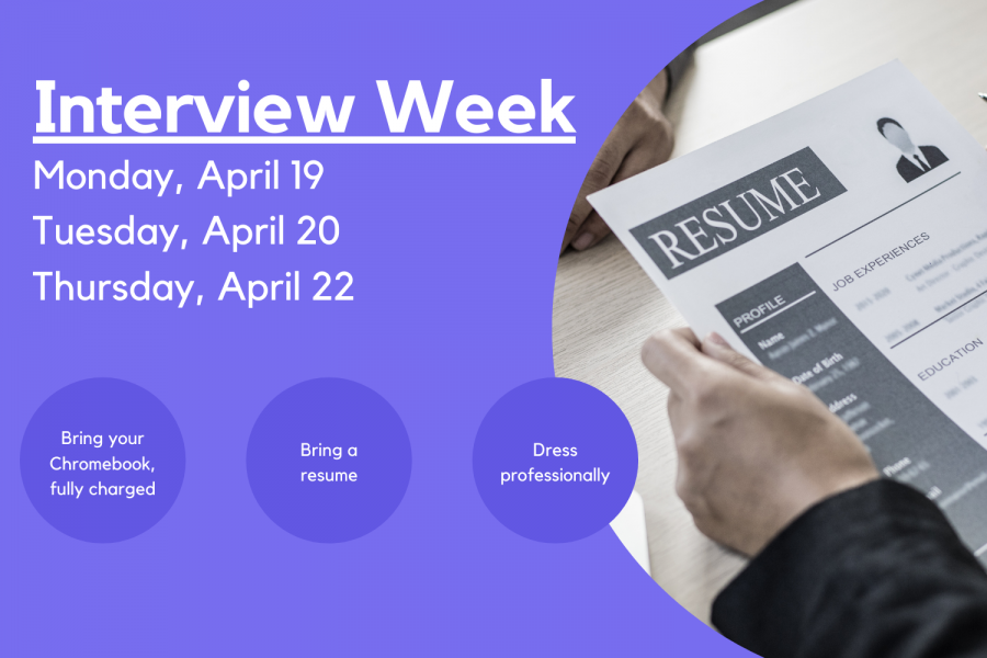 Interview Week, part of Canyon ISD's Competitive Edge Week, will continue through Thursday, April 22. Beginning in 2019, this year is the first year that Interview Week will be held virtually. The administration team worked with seniors to schedule an interview with a professional from the community.