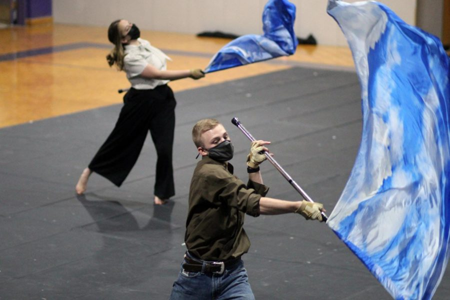Varsity Winterguard  performed their show,