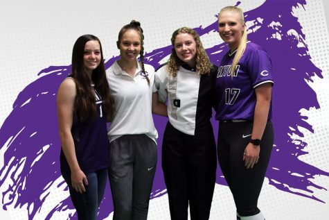 """The four valedictorians, freshman Kale Cameron, sophomore Shaylin Schulte, junior Abigail Bell and senior Danielle Burns,  stand in their respective team uniform. Each valedictorian is involved with at least two other activities in addition to their academic pursuits. """"Time management is important,"""" Bell said. """"Setting priorities and keeping them is the best way to stay ahead. It"""