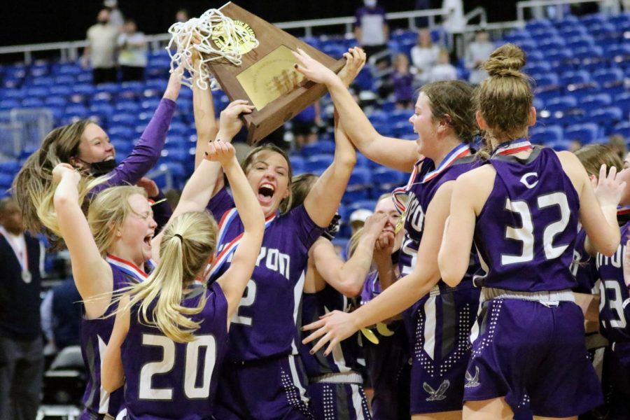 Seniors Kenadee Winfrey, Neely Wood, Karlie Venhaus and Kross Hiatt, junior Taylor Thomas and sophomore Shaylin Shulte celebrate their victory at the UIL State Championship with a score of 56-55. Venhaus, Wood, Winfrey and seniors Kenadee Bennet, Chloe Callahan and Kyla Cobb have been playing together since second grade. Our relationship is almost indescribable, Venhaus said. We had that chemistry, that connection. I think thats part of the reason why we were so successful this year. Were so close and I know I can count on them for anything Ill ever need for the rest of my life.