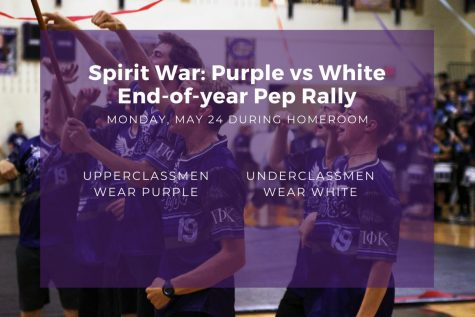 """Students can participate in an end-of-year pep rally on Monday during homeroom. The theme will be Spirit War: Purple vs White, and underclassmen are asked to wear white, while upperclassmen are asked to wear purple. """"We chose this theme because we wanted something simple and easy for all students to participate in,"""" cheer sponsor Nicole Moore said. """"We figured there"""