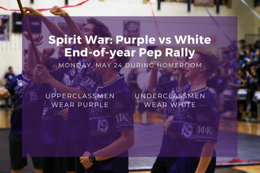 Students can participate in an end-of-year pep rally on Monday during homeroom. The theme will be Spirit War: Purple vs White, and underclassmen are asked to wear white, while upperclassmen are asked to wear purple. We chose this theme because we wanted something simple and easy for all students to participate in, cheer sponsor Nicole Moore said. We figured theres no better theme to end the school year than proudly representing our school colors.