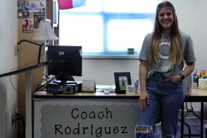 Callie Rodriguez coaches ________ and teaches geometry. Before coming to Canyon High, she coached volleyball, softball, tennis and powerlifting in Bangs, Childress, and Levelland, Texas. Canyon High School has been my goal for some time now, Rodriguez said. It has upheld an outstanding reputation in both athletics and academics for as long as I can remember.